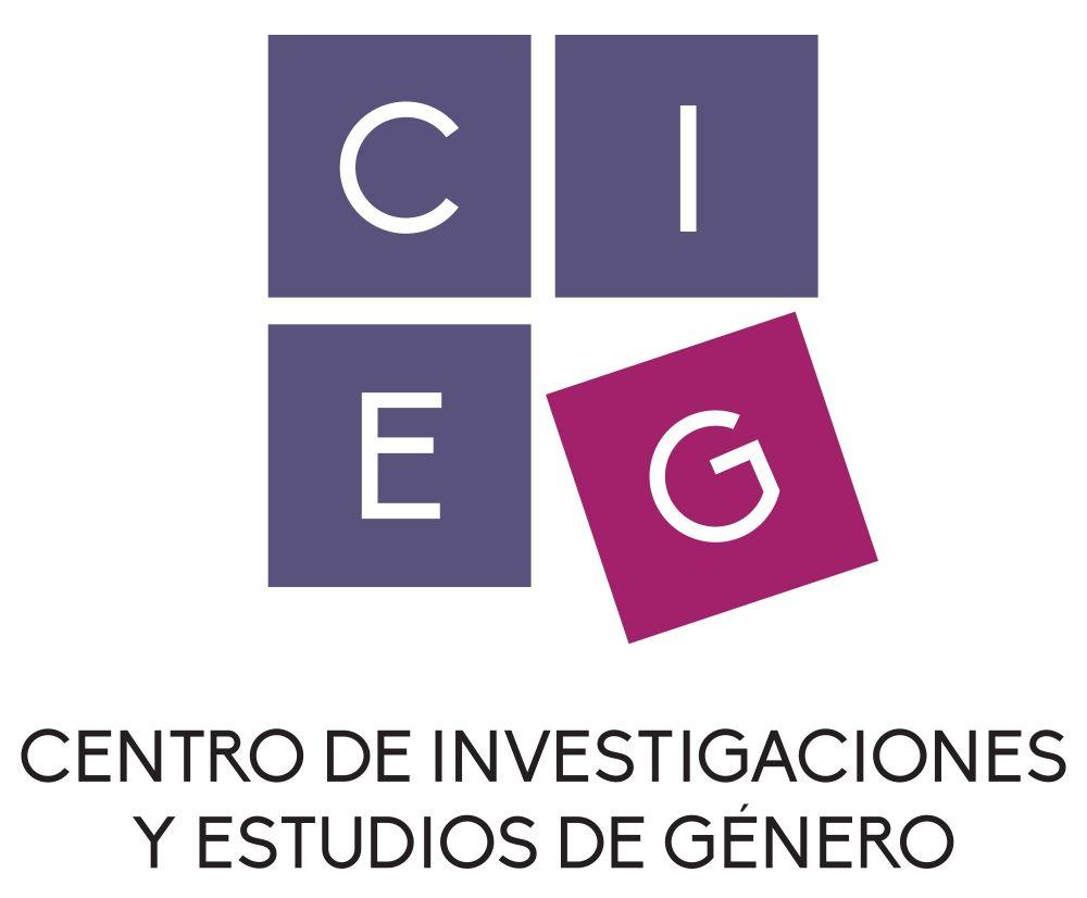 Logo del Centro de Investigaciones y Estudios de Género. Aparecen las siglas, cada letras en un cuadrado azul y la ''G'' en uno color morado ligeramente rotado hacia la izquierda como si estuviera cayendo o saliendo del cuadro principal que se forma con las cuatro letras.