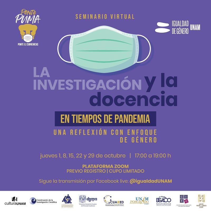 Cartel del seminario la investigación y la docencia en tiempos de pandemia, una reflexión con enfoque de género