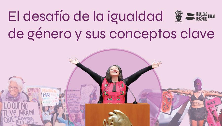"""en la imagen está marcela lagarde con los brazos abiertos y triunfantes, hay un collage de fotos con mujeres en protesta, se lee la frase: el desafío de la igualdad de género y sus conceptos clave"""""""